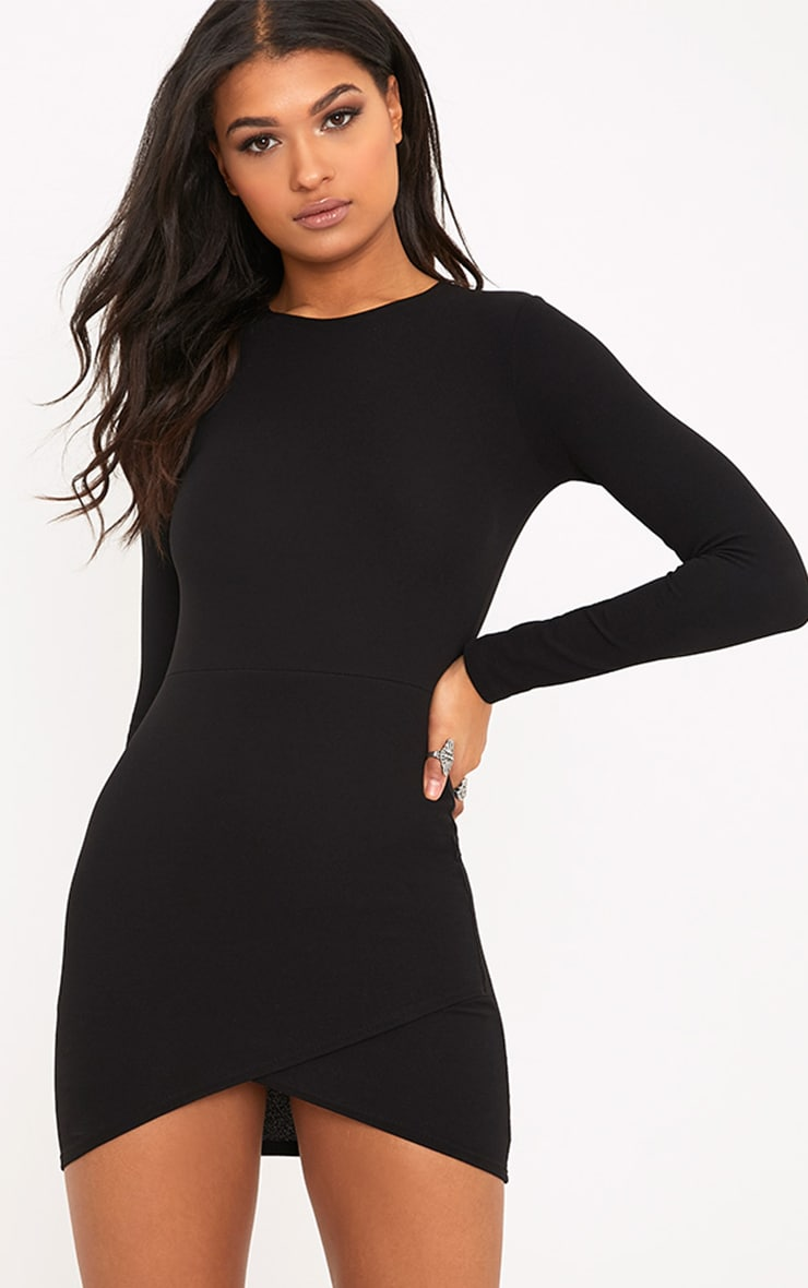 Black Long Sleeve Wrap Skirt Bodycon Dress 1