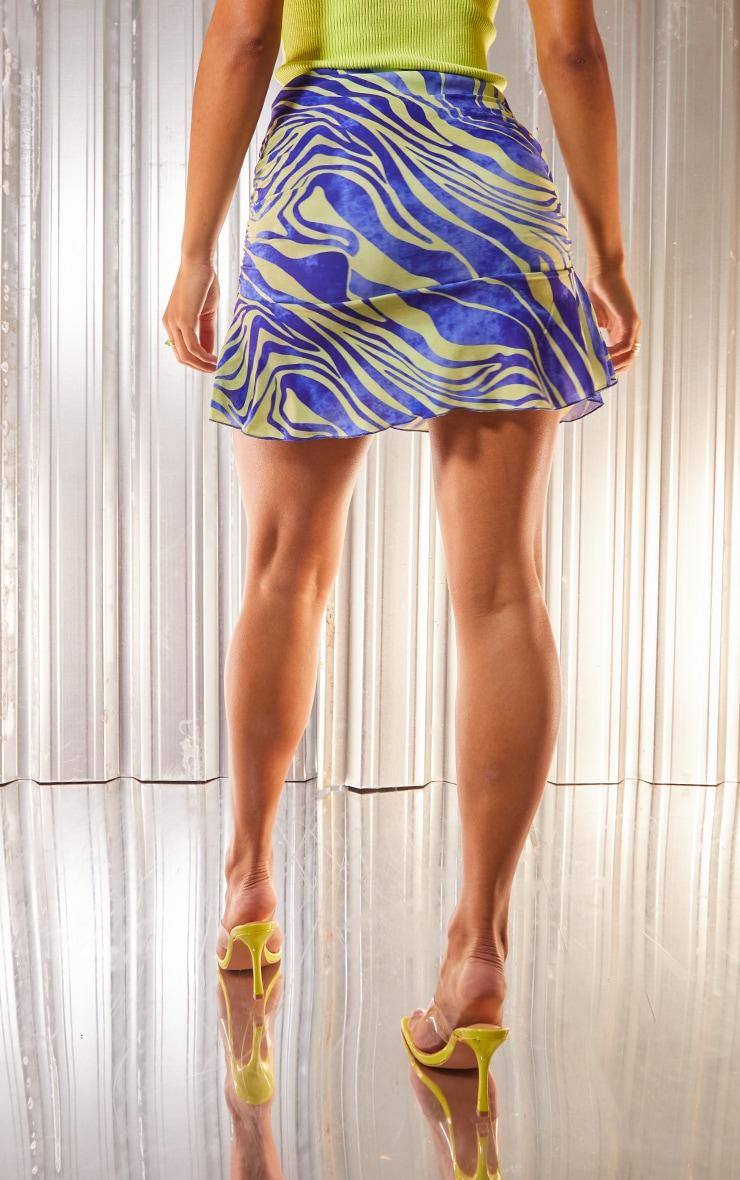 Blue Zebra Print Slinky Ruched Frill Hem Mini Skirt 3