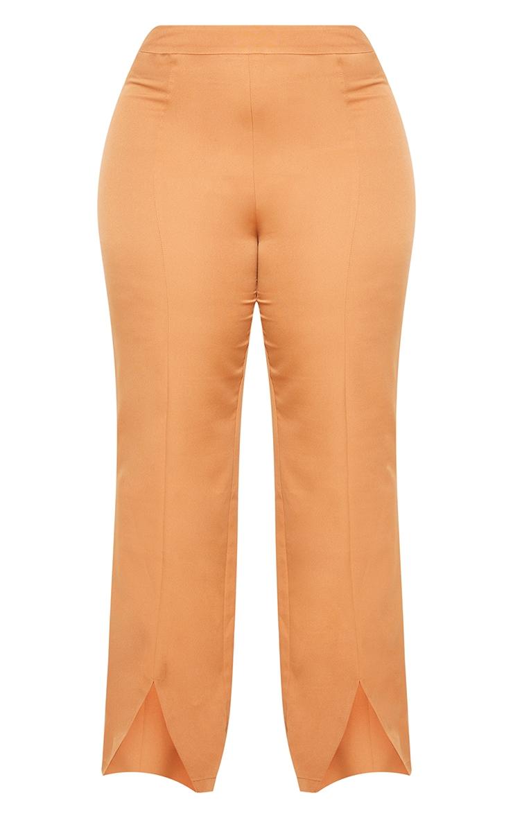 Plus Camel Seam Front Woven Split Hem Trousers 5