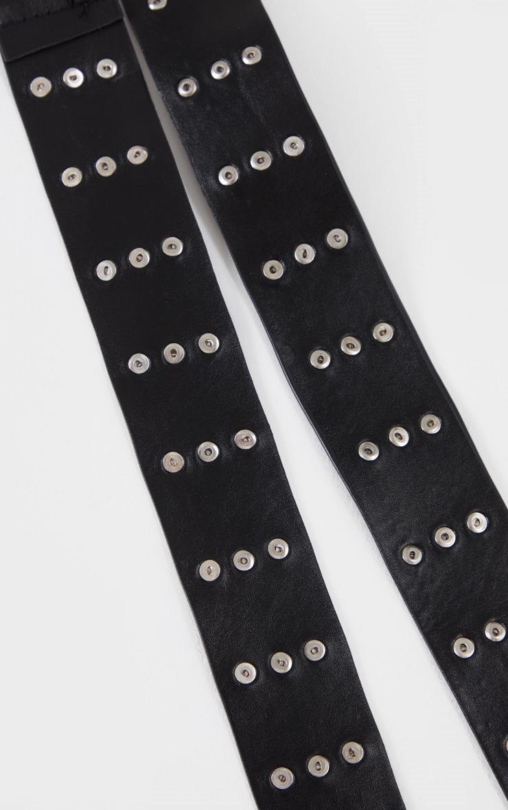 Black Studded Seat Belt Fasten Taping Belt 3