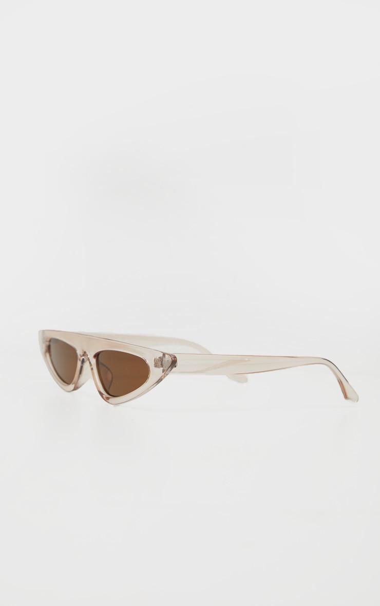 Brown Flat Top Slim Cateye Sunglasses  3