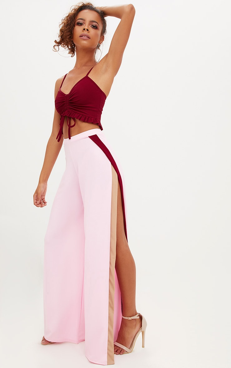 Petite Pink Split Flared Trousers 1