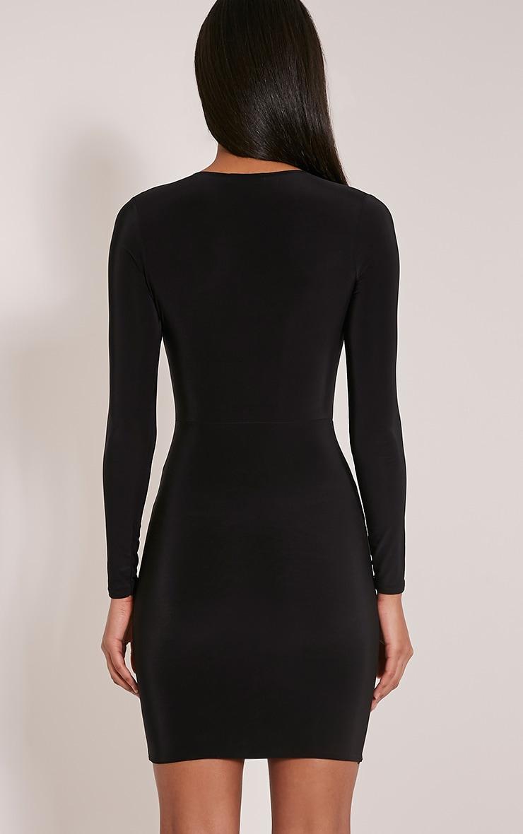 Tamaya robe moulante noire à manches courtes et devant croisé 2