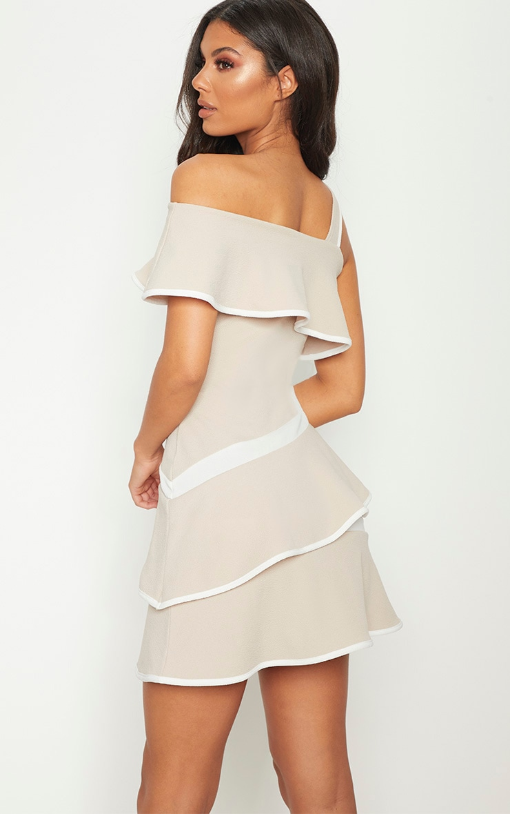 Stone Binding Detail One Shoulder Tiered Skater Dress 2