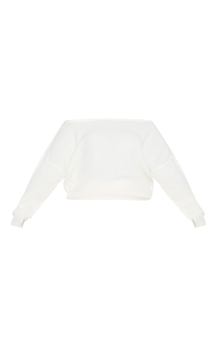 Plus Cream Off the Shoulder Crop Knitted Sweater 3