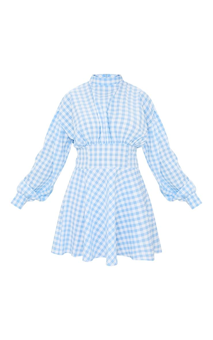 Blue Gingham High Neck Ruched Detail Shift Dress 5