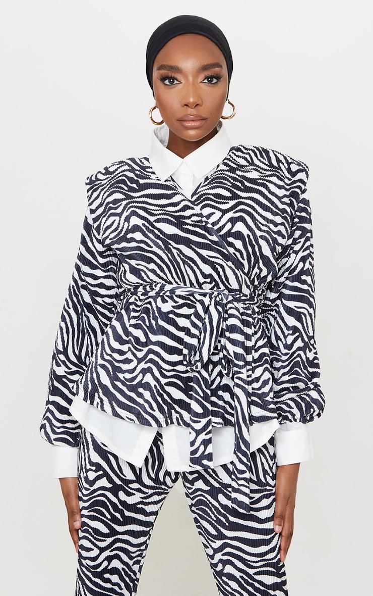 Black Zebra Print Shoulder Pad Wrap Plisse Blouse 1
