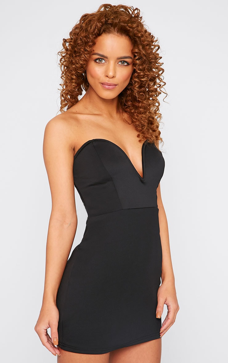 Yelina Black Structured Plunge Dress 3