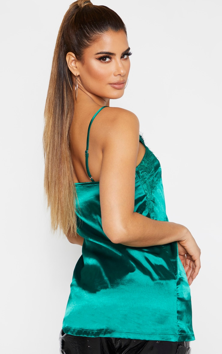 Tall Emerald Green Satin Lace Trim Cami Top 2