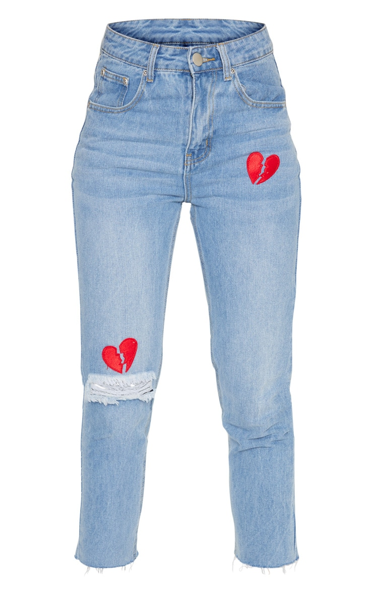 Mid Wash Heart Breaker Embroidered Jeans 3