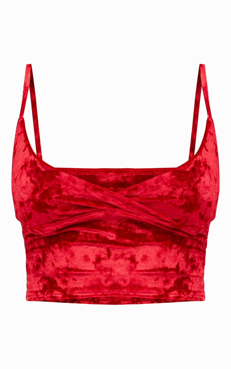 Red Crushed Velvet Bralet 3
