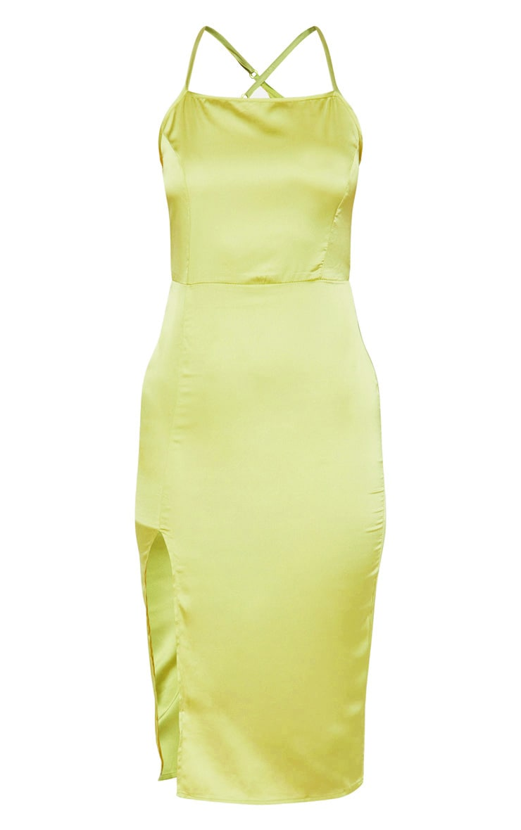 Lime Satin Backless Slip Dress 3
