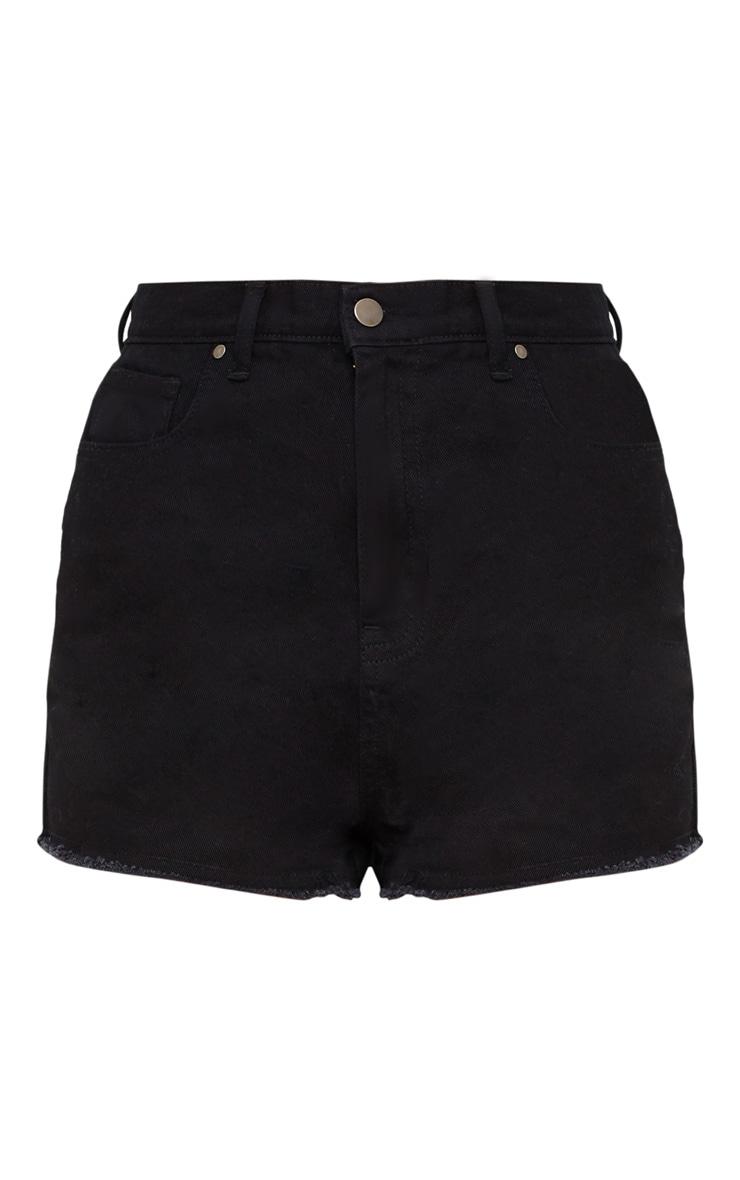 Short en jean noir taille haute déchiré au niveau des fesses 3