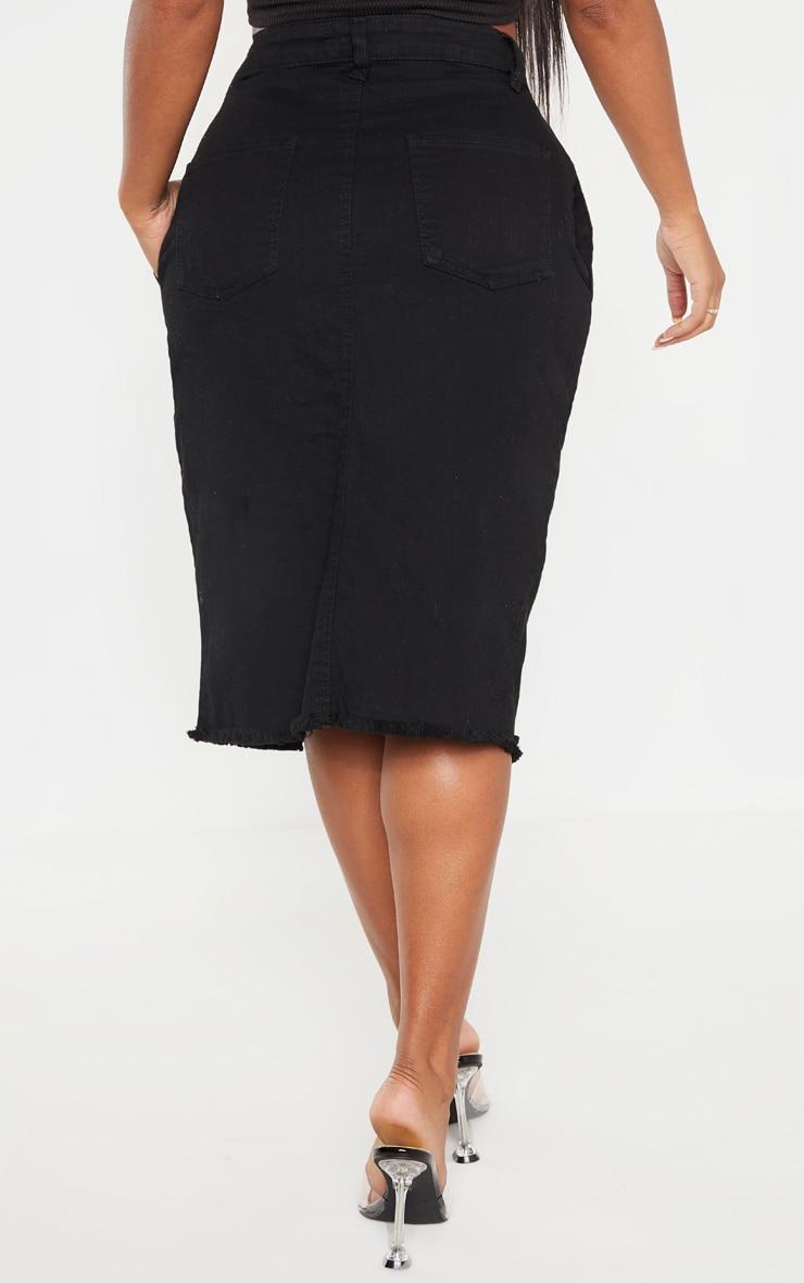 Shape Black Wrap Denim Midi Skirt 4