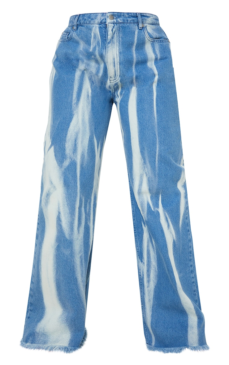 Plus Mid Blue Wash High Waist Tie Dye Wide Leg Jeans 5