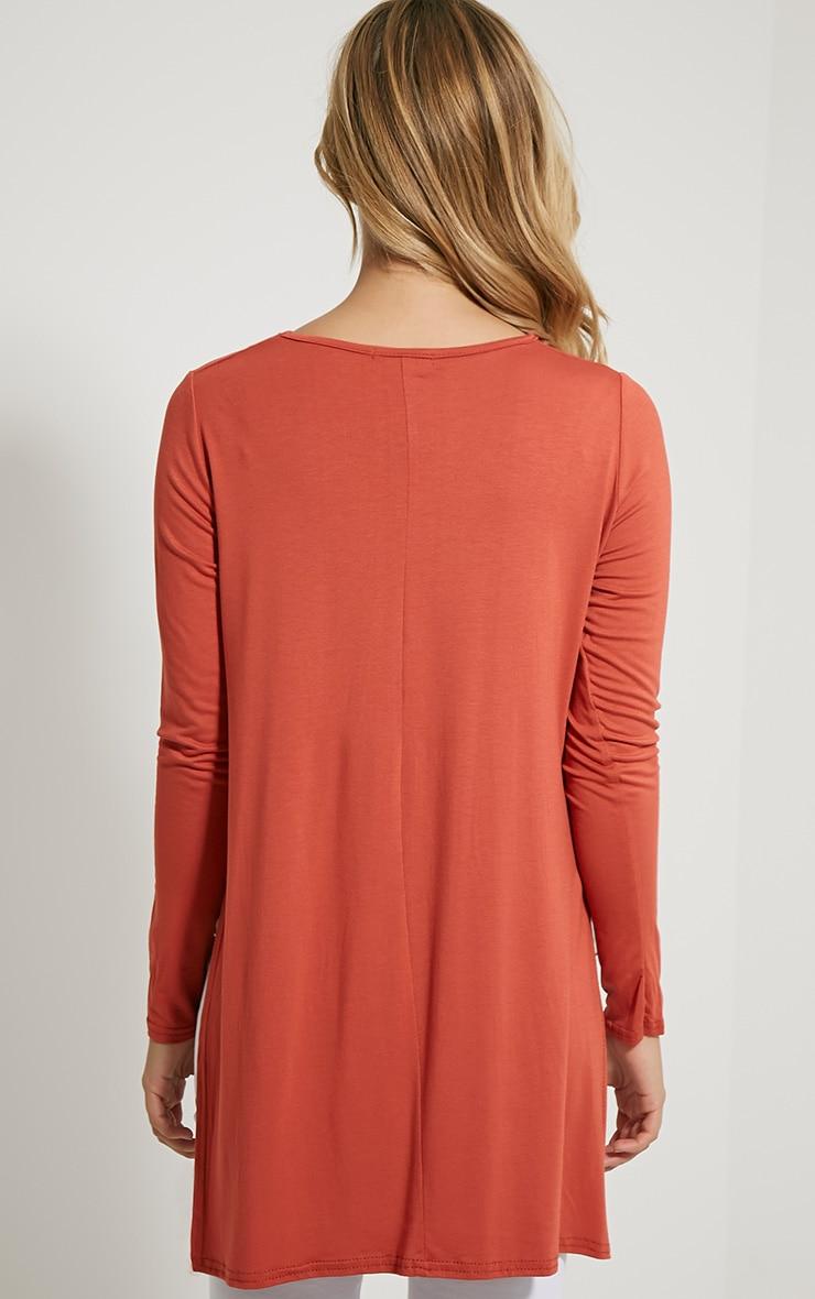 Basic Rust Long Sleeve Side Split Top 2