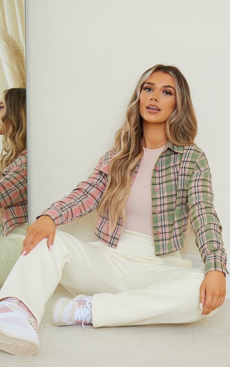 Pink Flannel Check Spliced Crop Shirt 3