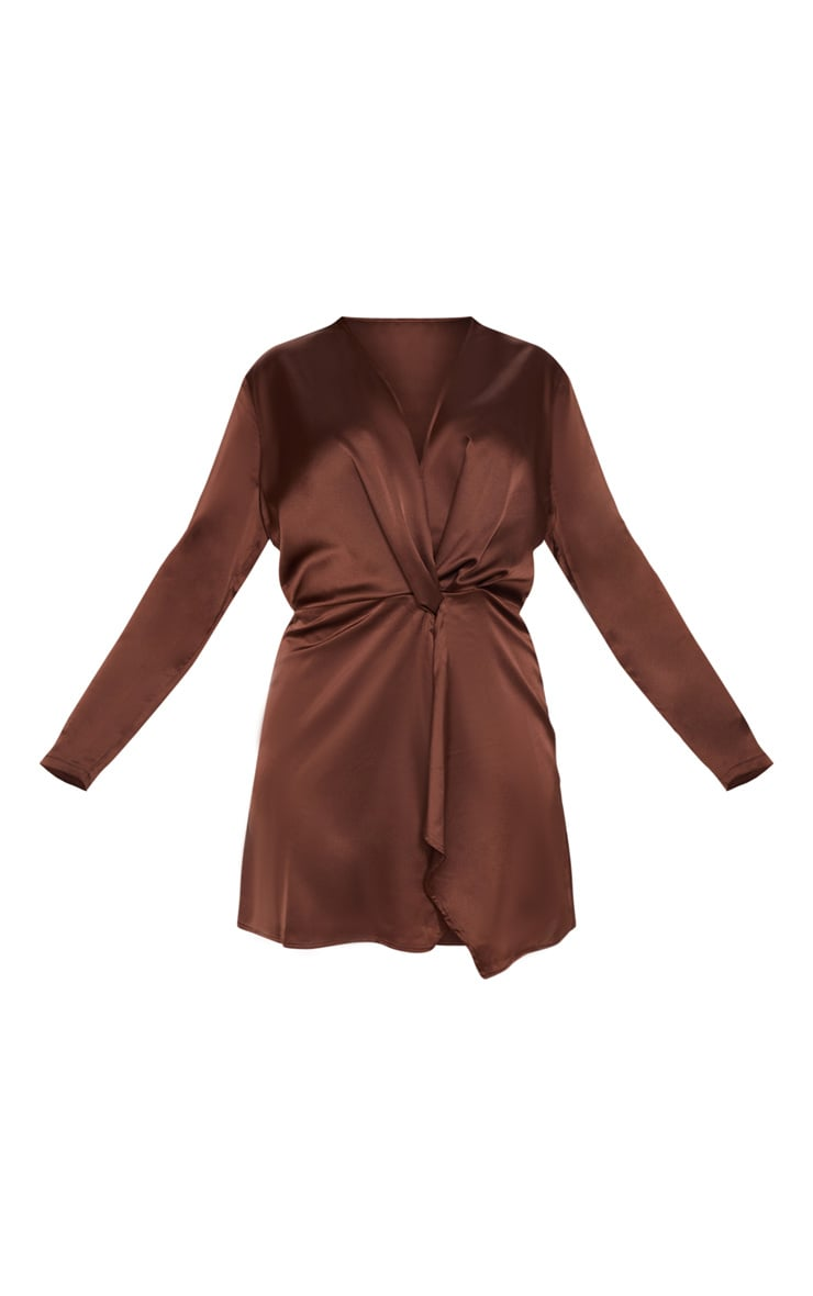 Plus Chocolate Brown Satin Long Sleeve Wrap Dress 3