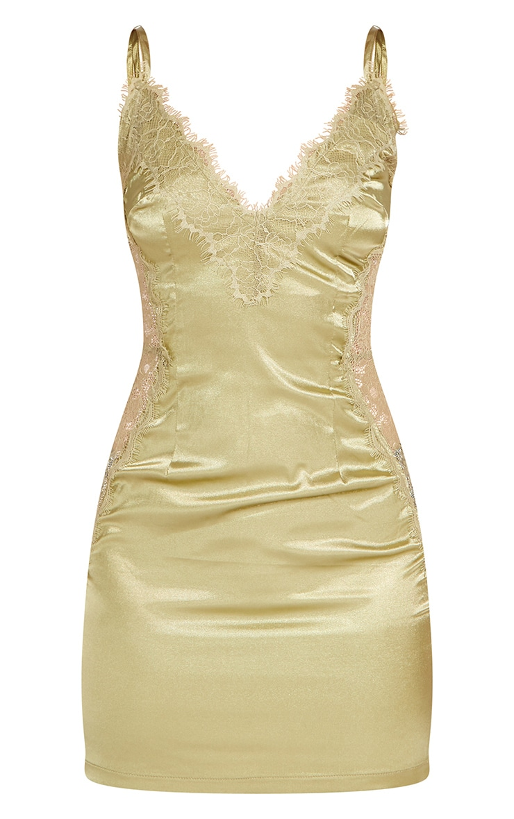 Petite Khaki Lace Detail Satin Slip Dress 1