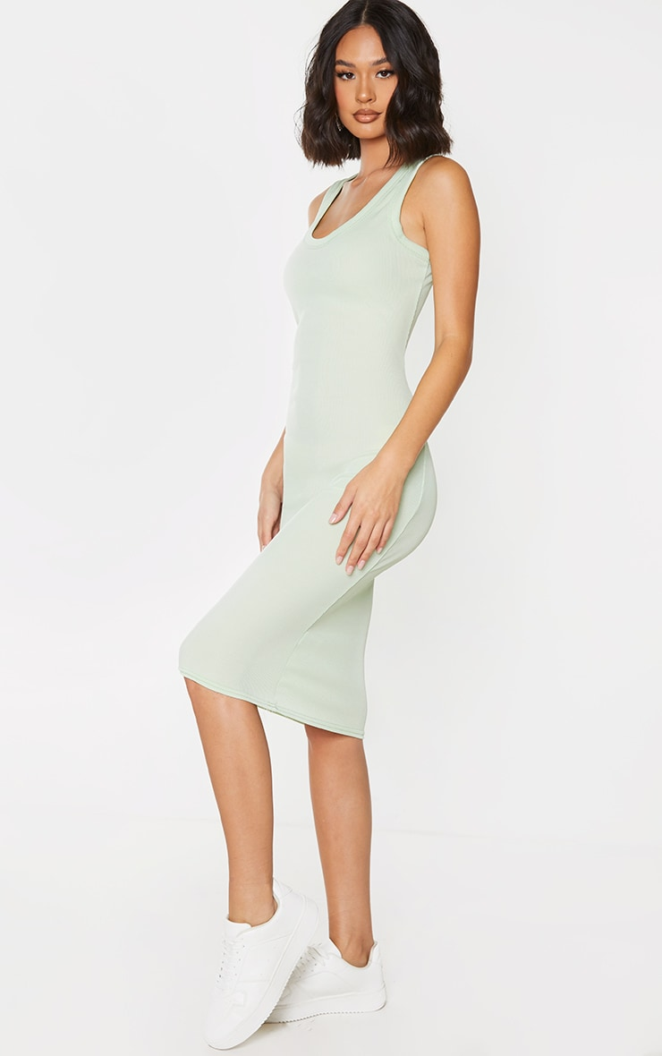 Sage Green Rib Scoop Neck Sleeveless Midi Dress 3