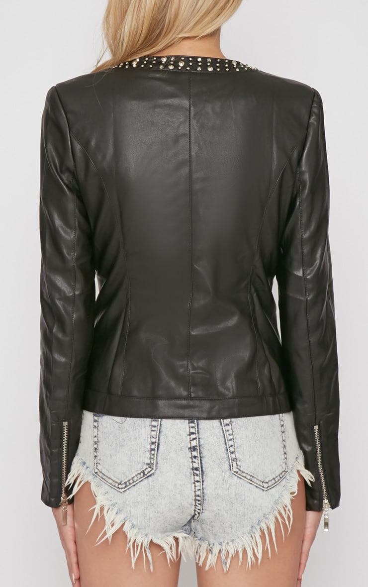 Alia Black PU Jacket With Studded Collar 2