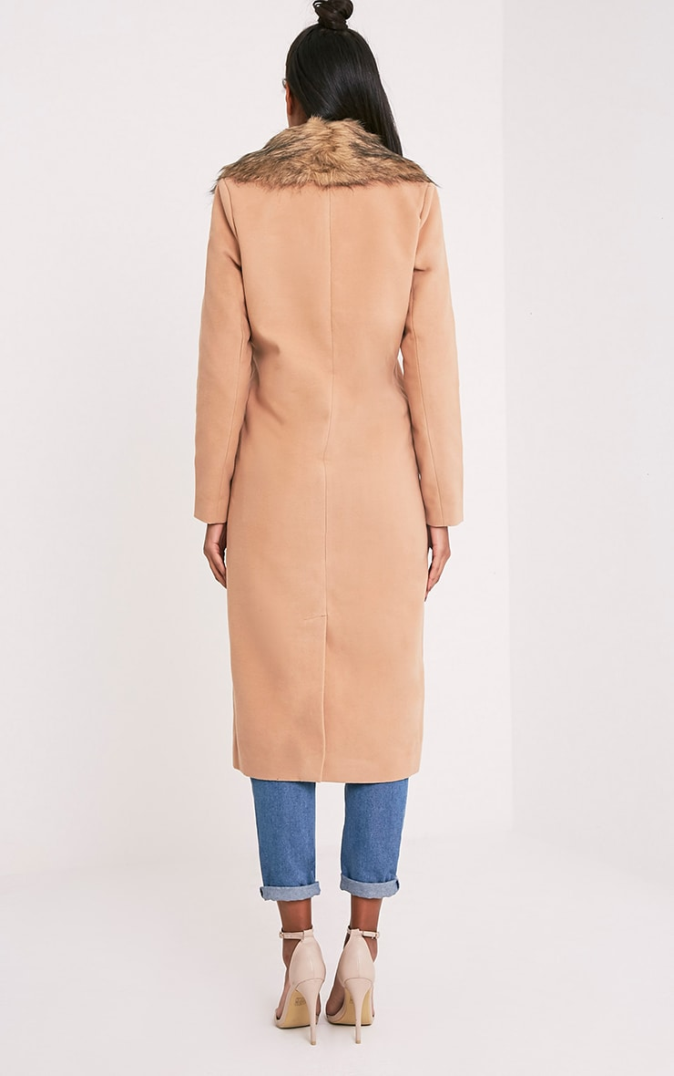 Camel Faux Fur Collar Double Breasted Coat 2