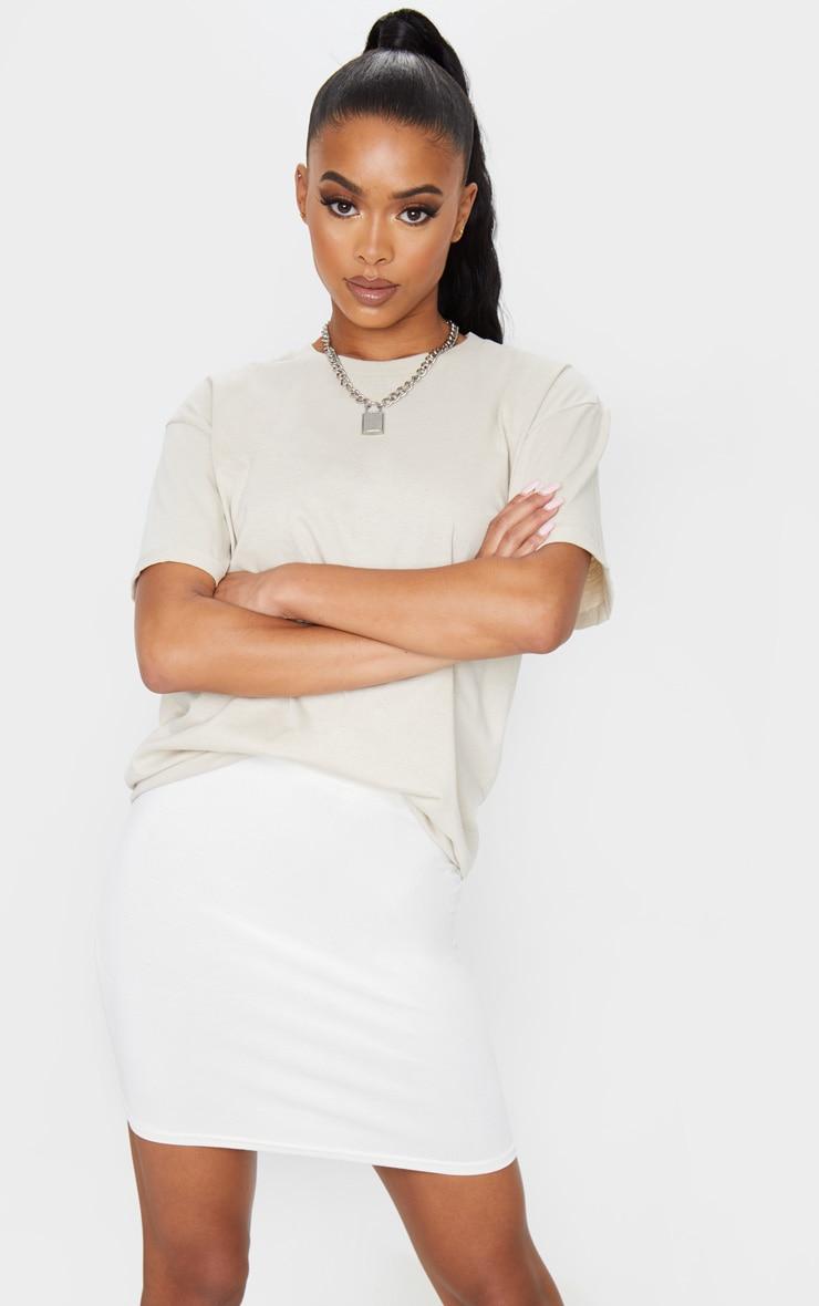 Cream Basic Jersey Mini Skirt 4