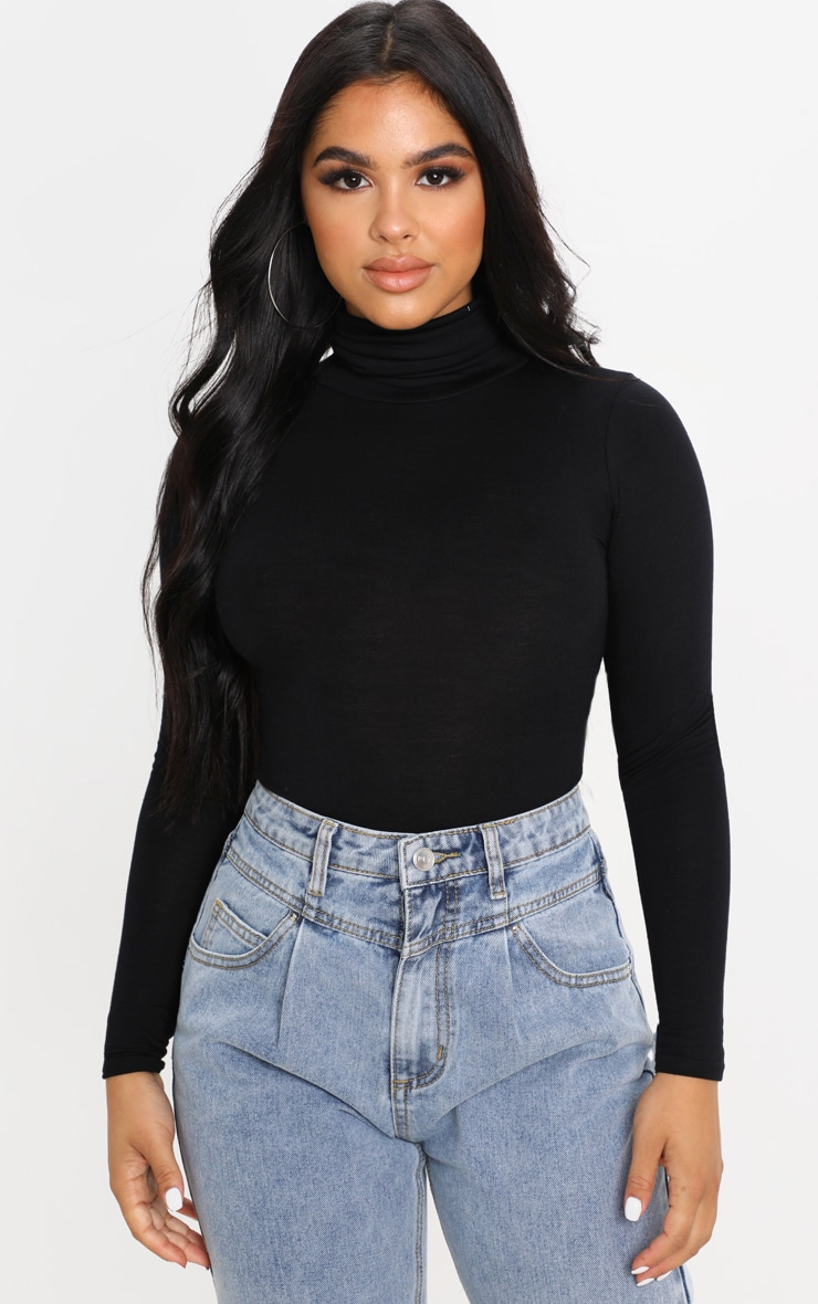 Petite Black Basic Roll Neck Long Sleeve Bodysuit 1