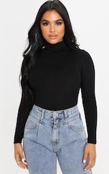 Petite Black Basic Roll Neck Long Sleeve Bodysuit 1