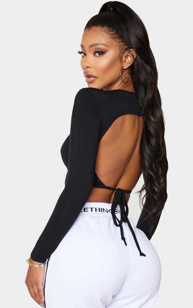 Shape Black Jersey Tied Back Crop Top 1