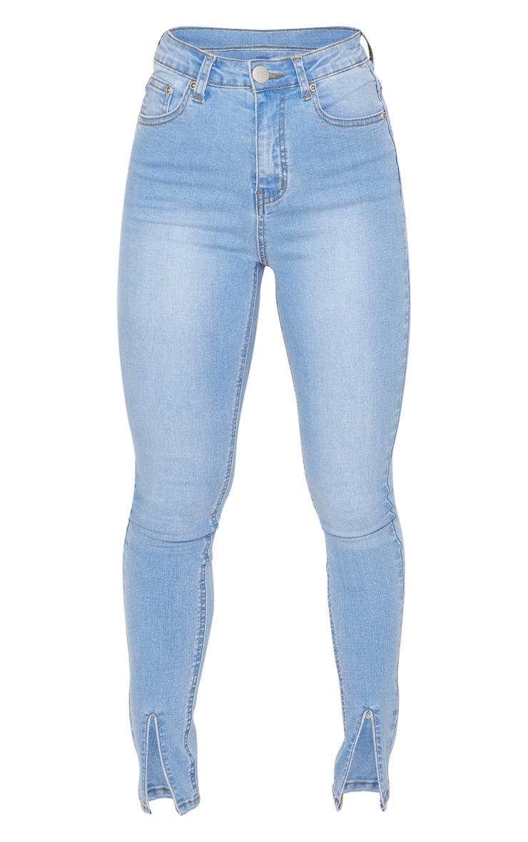 Petite Light Blue Wash Split Front Skinny Jean 3