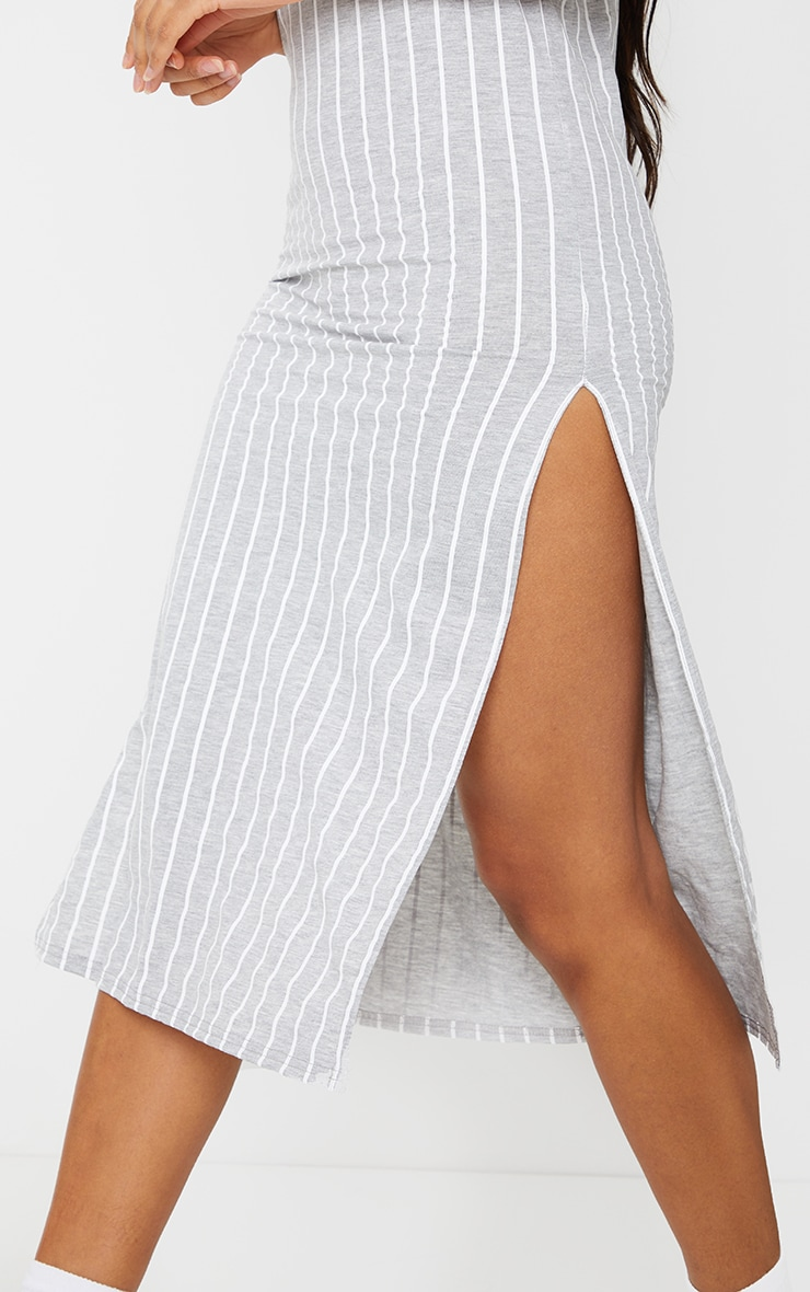 Grey Stripe Jersey Split Cami Midi Dress 4