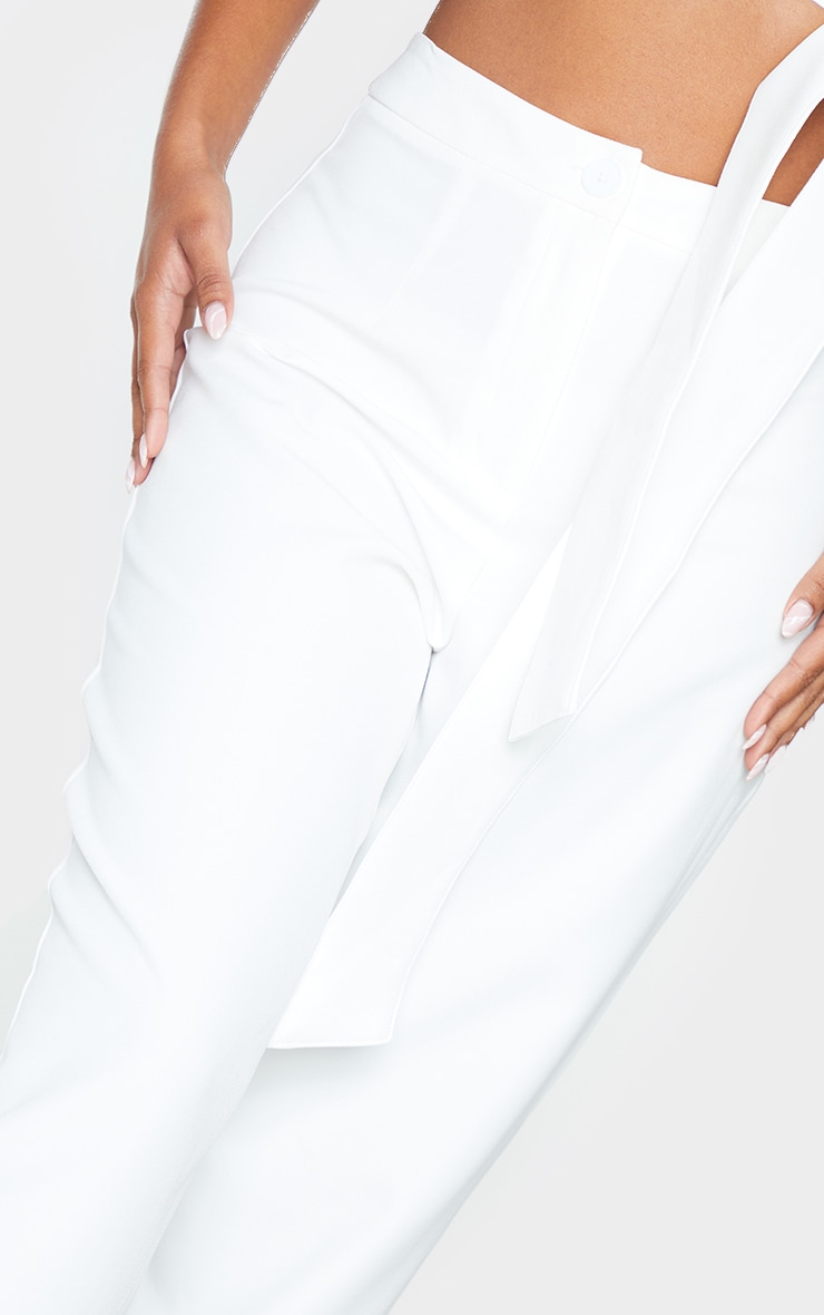 White Woven High Waisted Straight Leg Trousers 4
