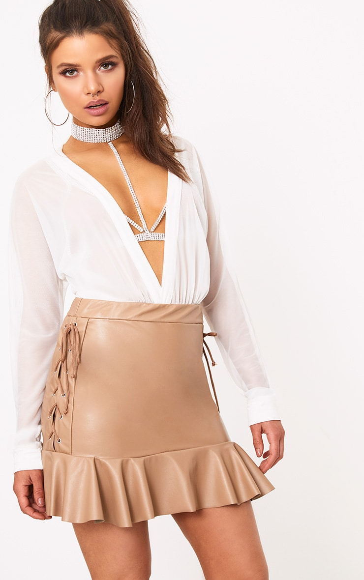 Camel PU Lace Up Frill Hem Mini Skirt 1