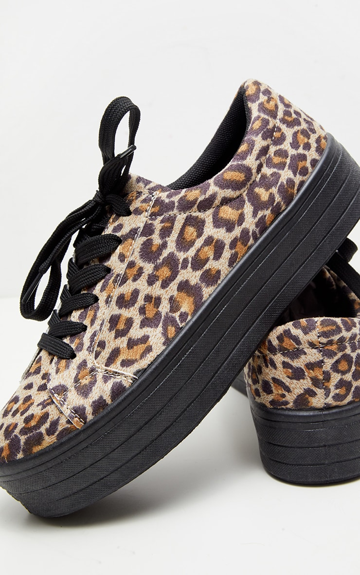 Leopard Faux Suede Flatform Sneakers  4