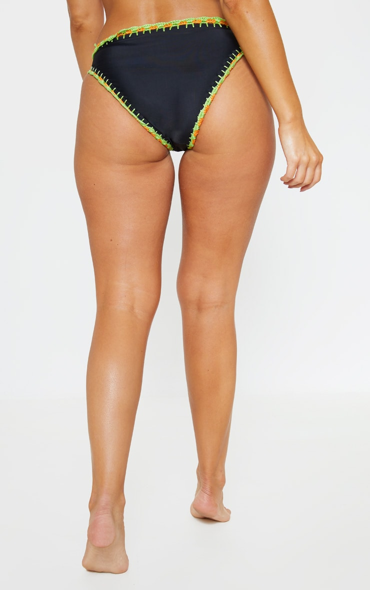 Black High Leg Crochet Trim Bikini Bottom 4