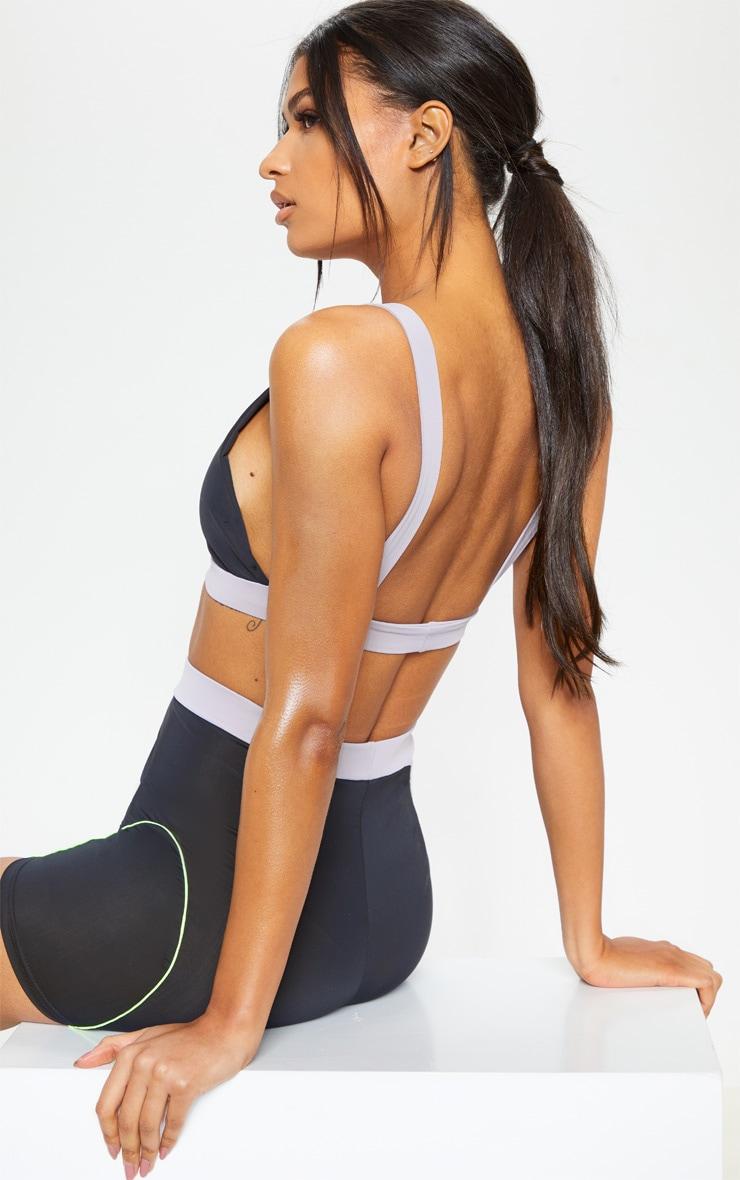 Black Clip Detail Sports Bra 2