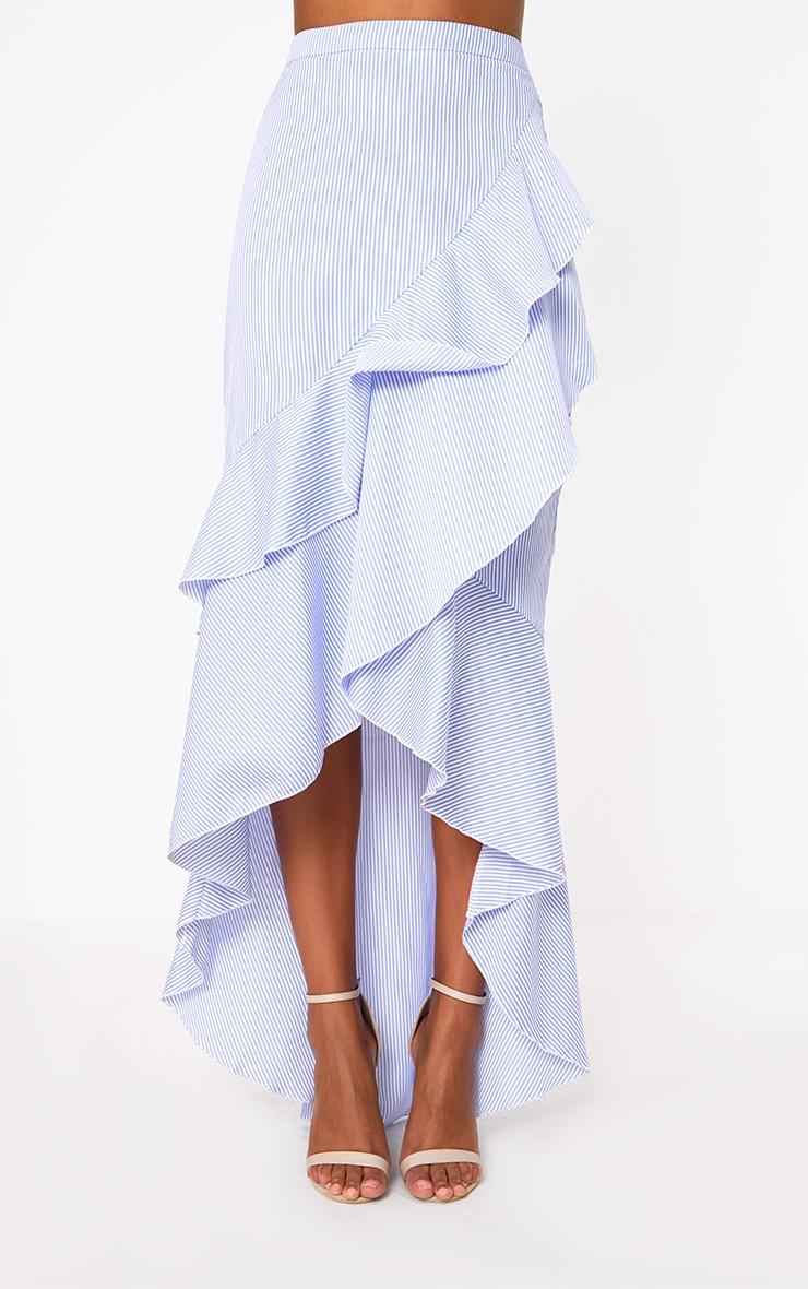 Blue Pinstripe Hi Lo Hem Ruffle Maxi Skirt 2