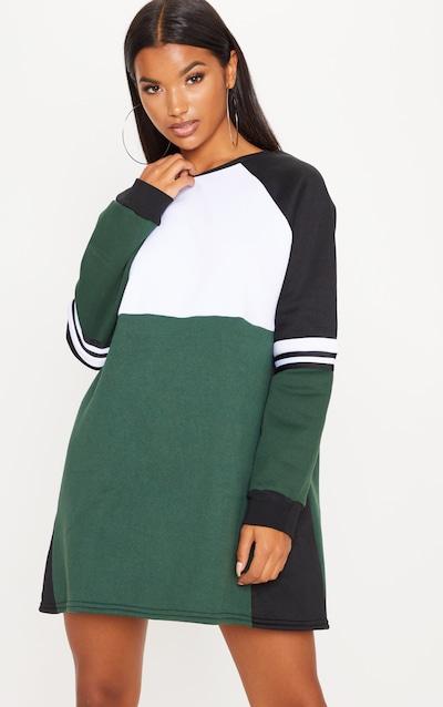 a981c717902 Green Colour Block Sweater Dress