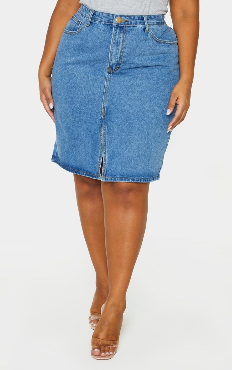 Plus Mid Blue Wash Split Detail Denim Midi Skirt 2
