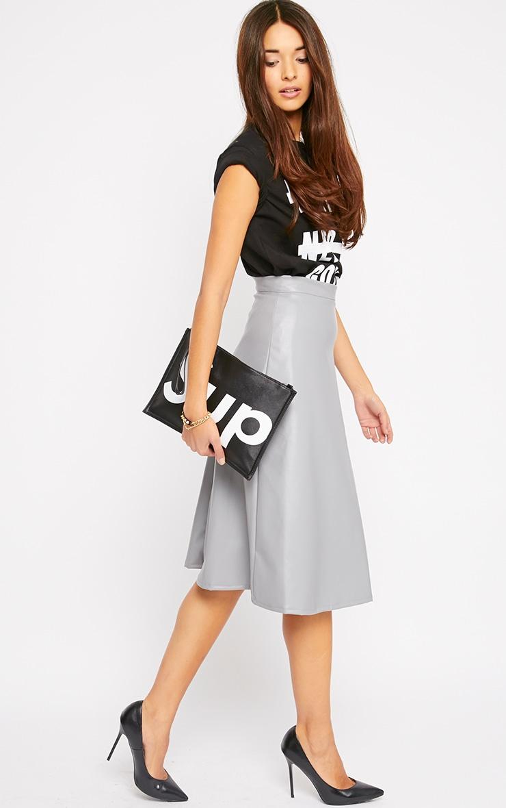 Heidi Grey Leather A Line Midi Skirt 3