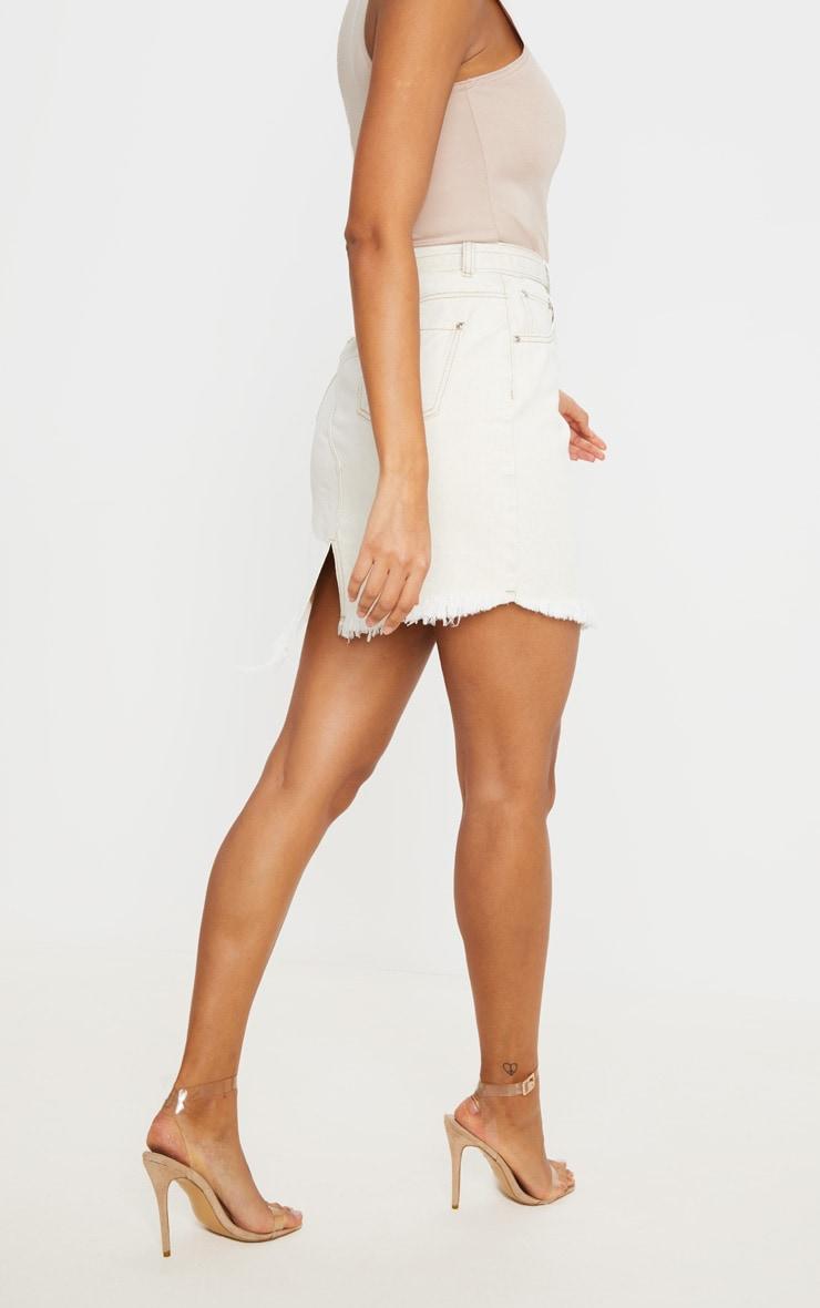 Ecru Cut Out Hem Belted Raw Denim Skirt 3