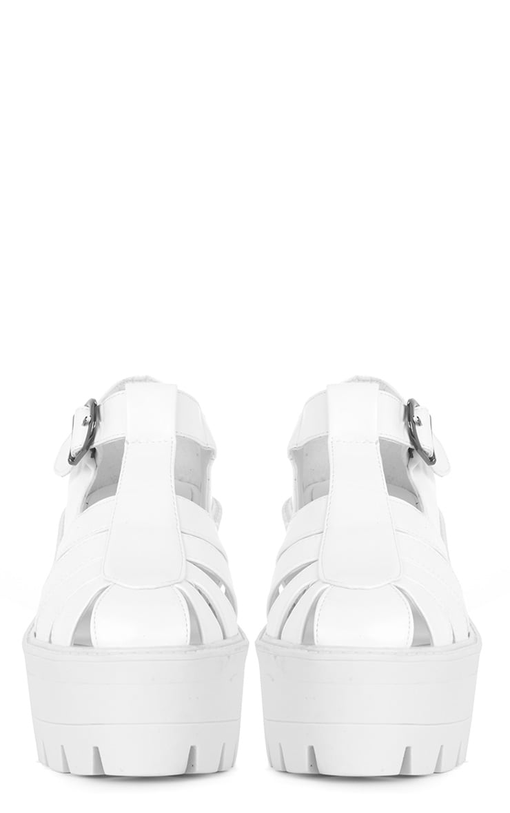Jamiya White Leather Cut Out Heeled Sandals  3