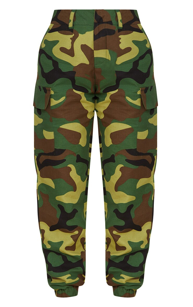 Petite Green Camo Print Cargo Pants 4