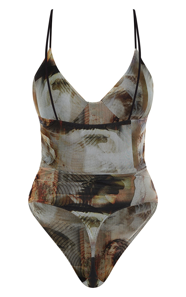 Nude Mesh Abstract Renaissance Print Cup Detail Bodysuit 5
