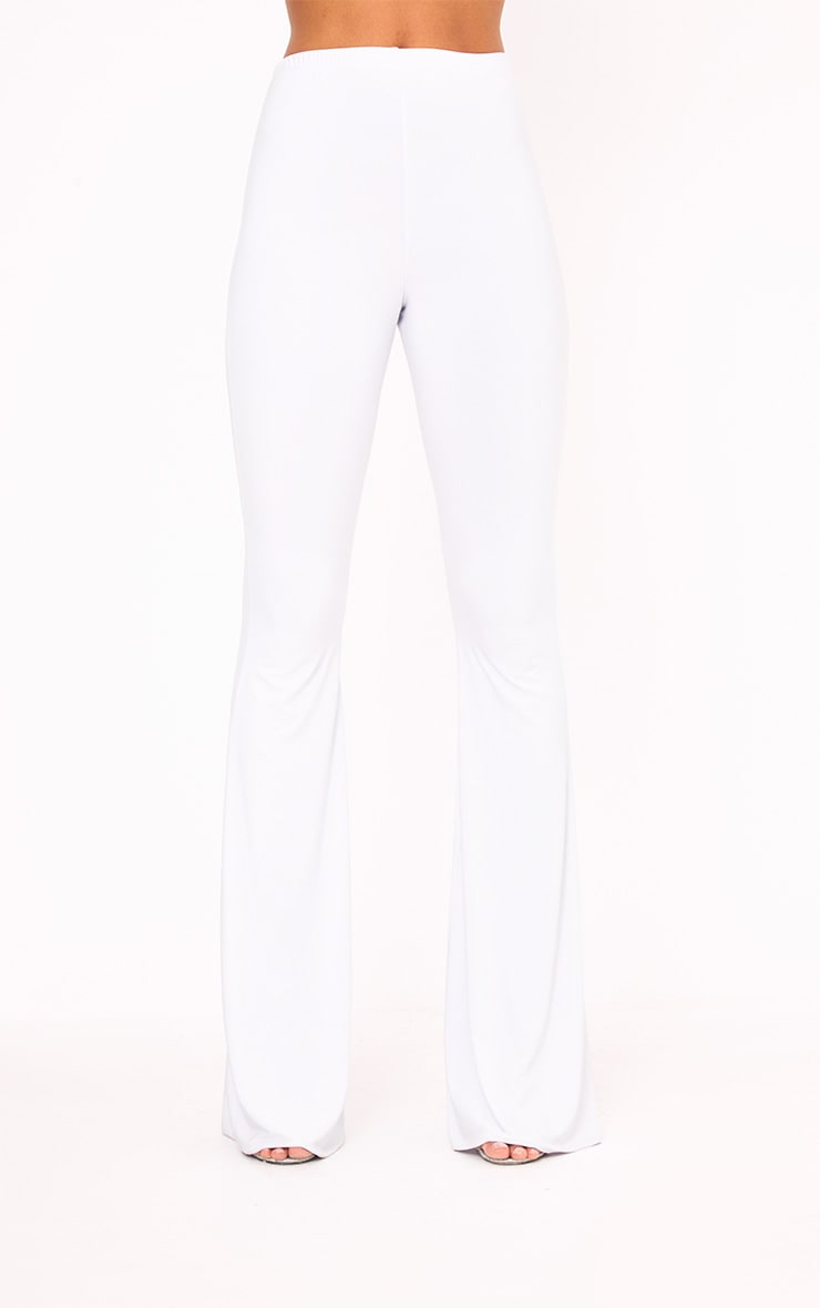 White Slinky Flared Trousers 2