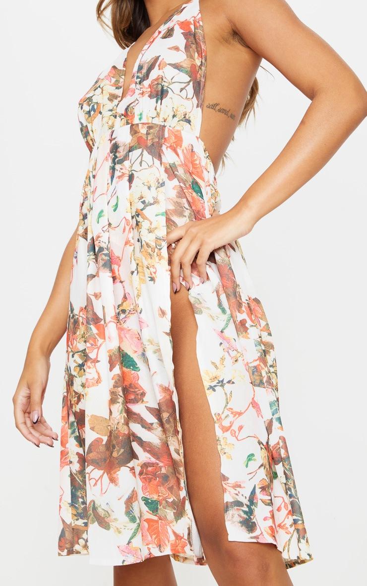 Multi Floral Print Strappy Back Halterneck Midi Dress 4