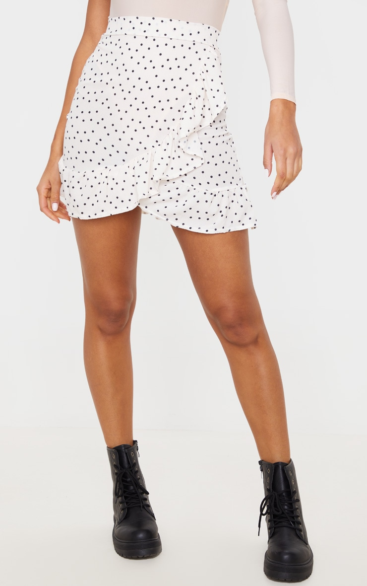 Nude Spot Print Frill Hem Wrap Mini Skirt 2