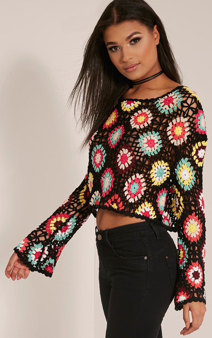 Anthia Black Patchwork Bell Sleeve Crochet Knitted Top 4