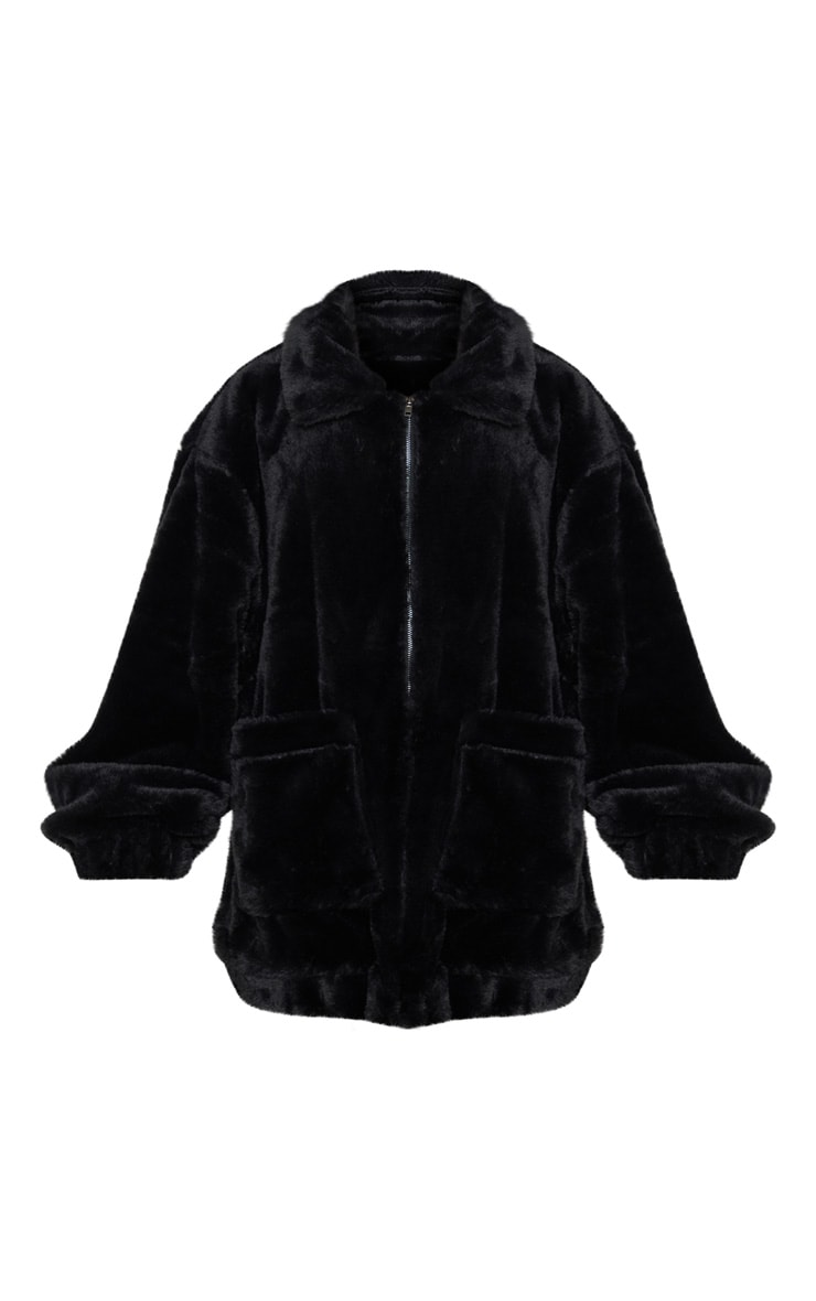 Black Pocket Front Faux Fur Coat 4